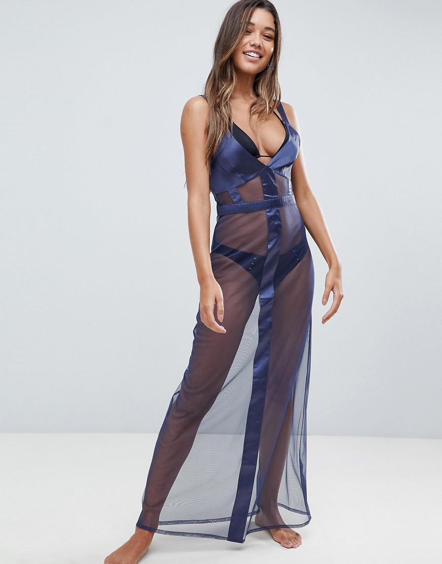 bd2644e689d Lyst - ASOS Satin Mesh Insert Maxi Beach Dress in Blue