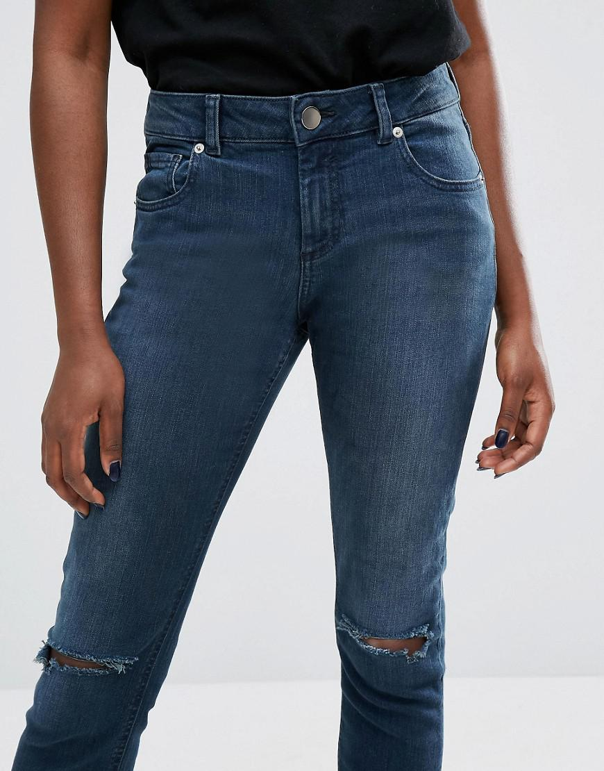 Lyst - Asos Kimmi Shrunken Boyfriend Jeans In Grace Dark Stonewash With Rips in Blue