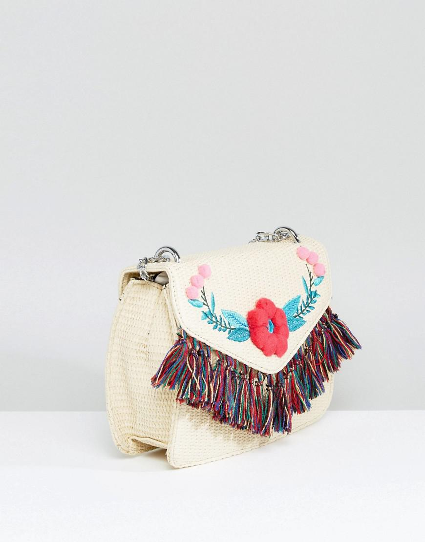 Straw Cross Body Bag With Pom and Tassel Detail - Natural Skinny Dip tas4qEsV9D