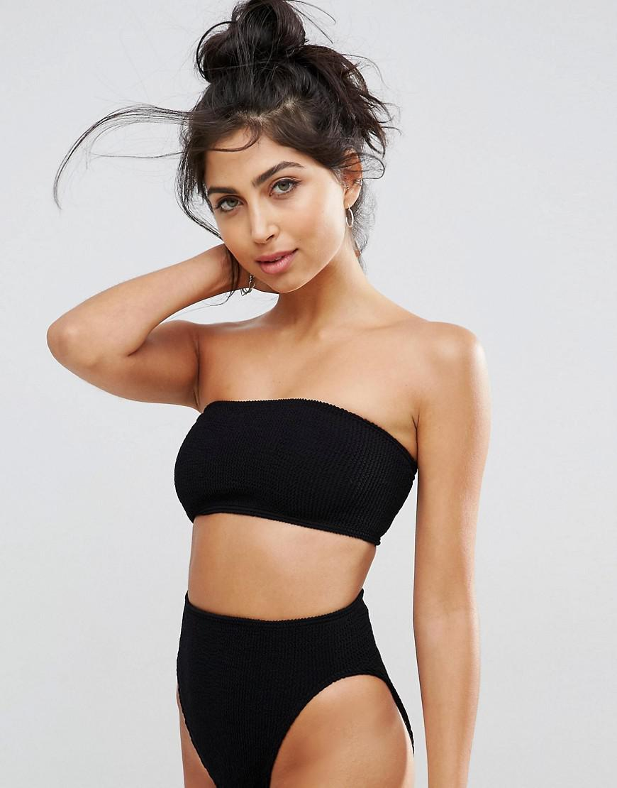 d12bf30e5a453 ASOS Mix And Match Crinkle Bandeau Bikini Top in Black - Lyst