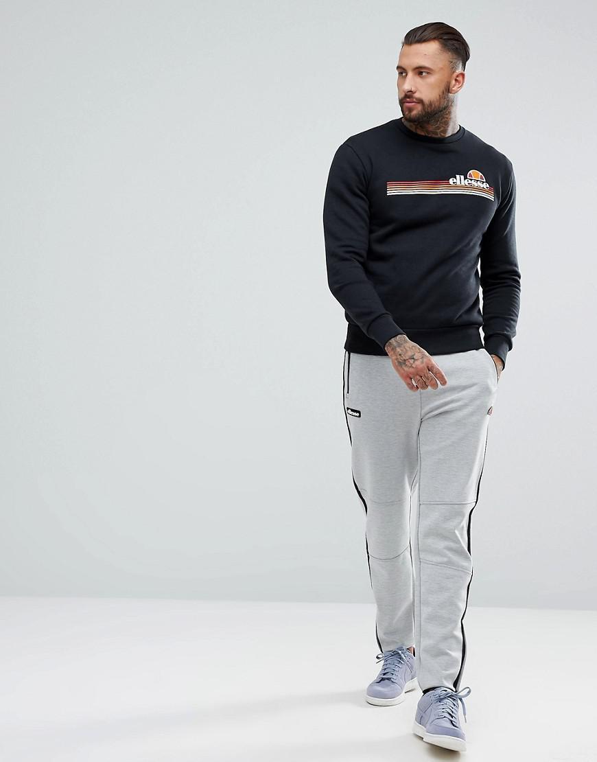 Ellesse Tiberio Crew Neck Sweatshirt In Black for Men