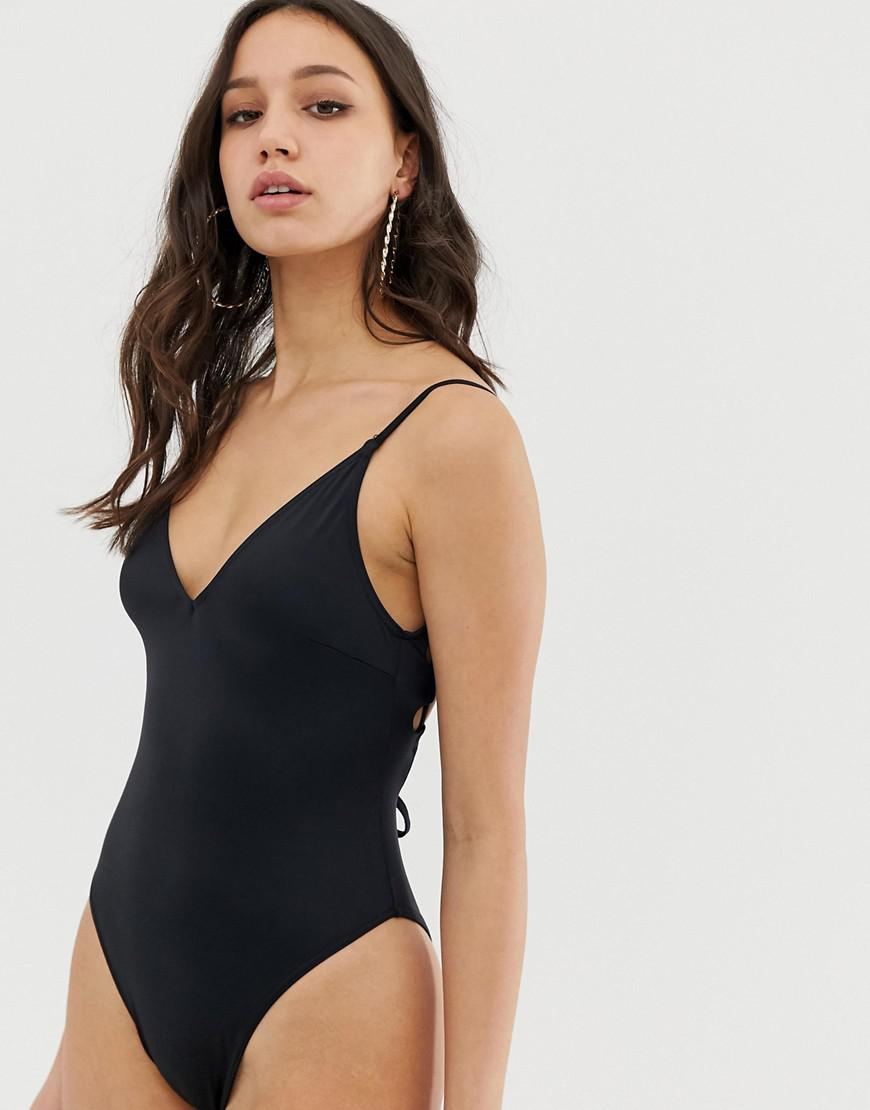 0c60bb0024f5f Lyst - ASOS Asos Design Tall Recycled Key Hole Channel Back Swimsuit In  Black in Black