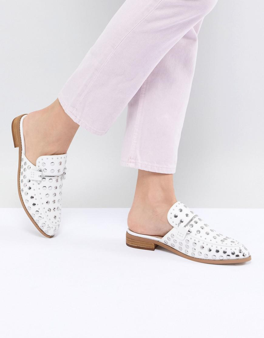 72ac0e44a65 Lyst - Steve Madden Laaura White Leather Studded Flat Mules in White