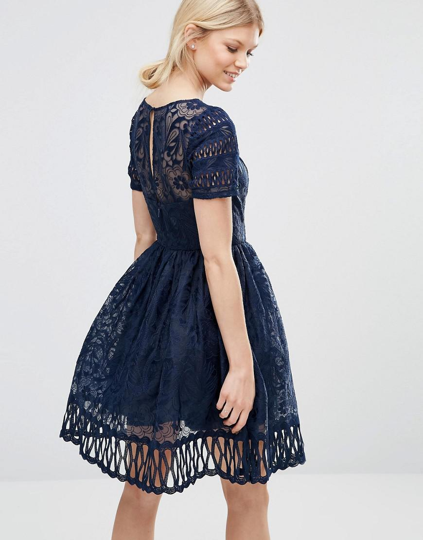 e509a463c4 Lyst - Chi Chi London Premium Lace Dress Cutwork Detail And Cap Sleeve in  Blue
