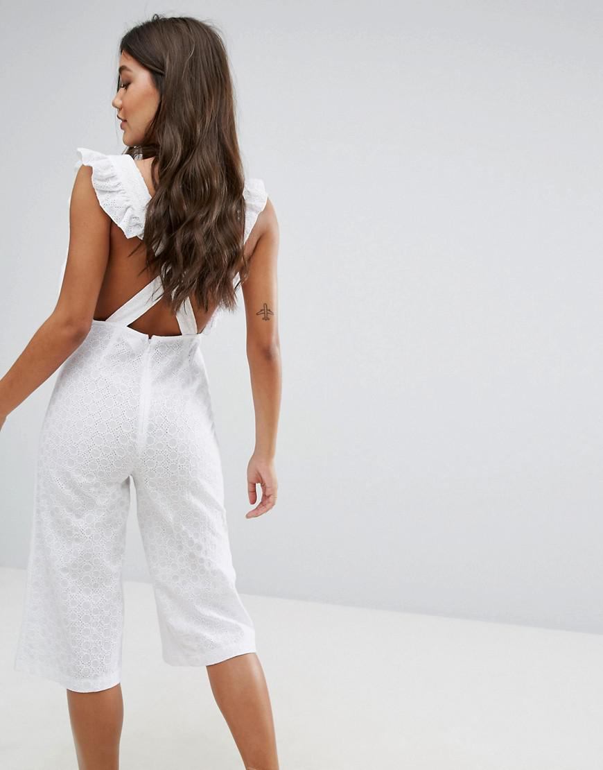 3e8825e5161b Missguided Broderie Frill Detail Culotte Jumpsuit in White - Lyst