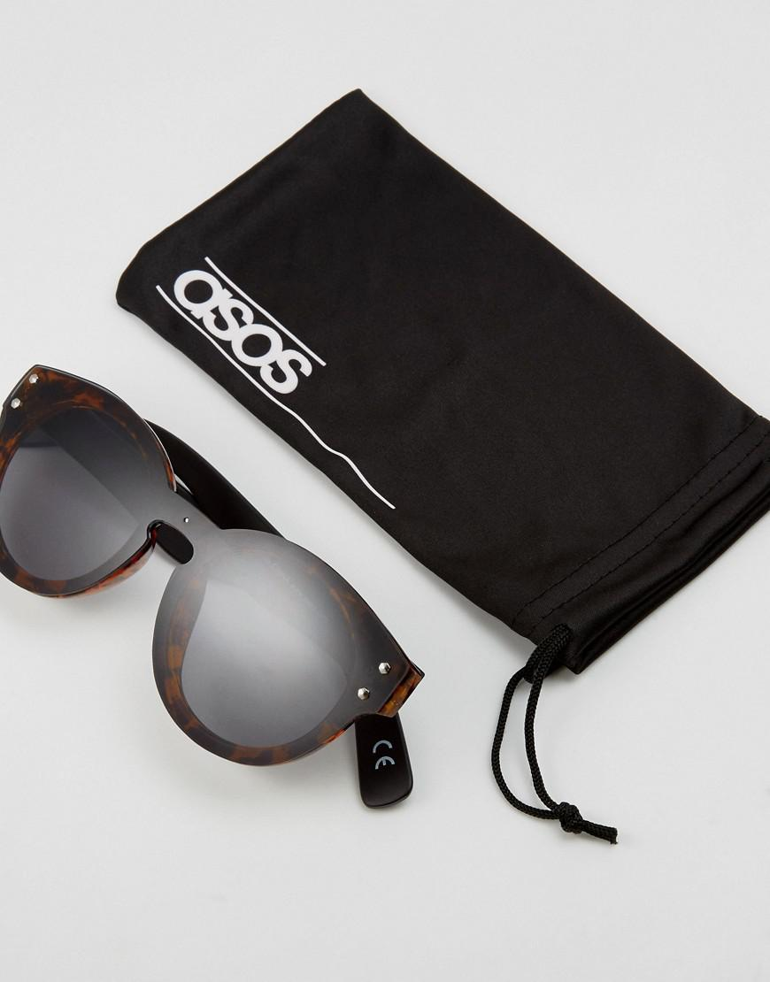 ASOS Denim Round Sunglasses In Tort With Black Layered Lens in Brown for Men