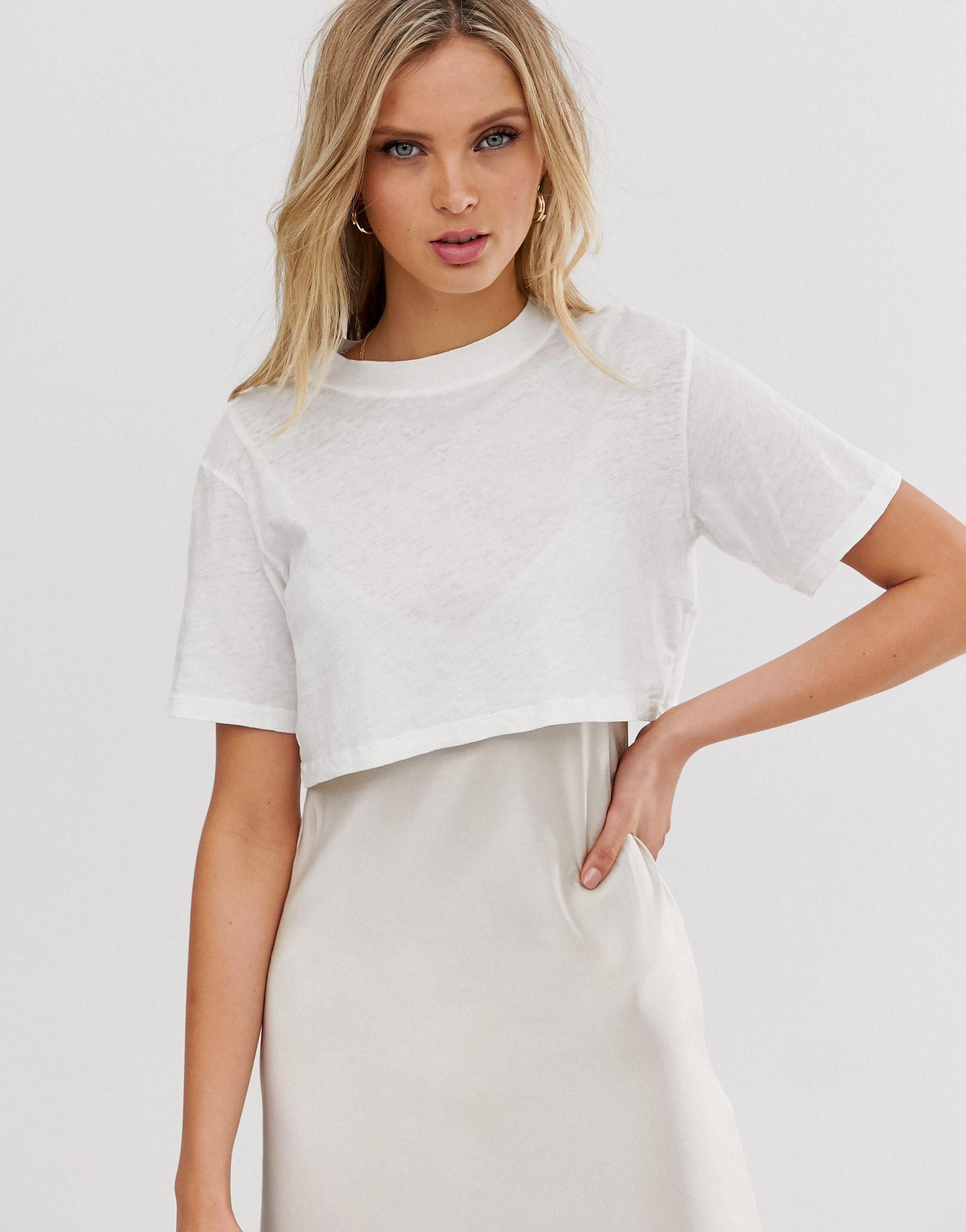Benno - Robe t-shirt mi-longue à enfiler Cuir AllSaints en coloris Blanc