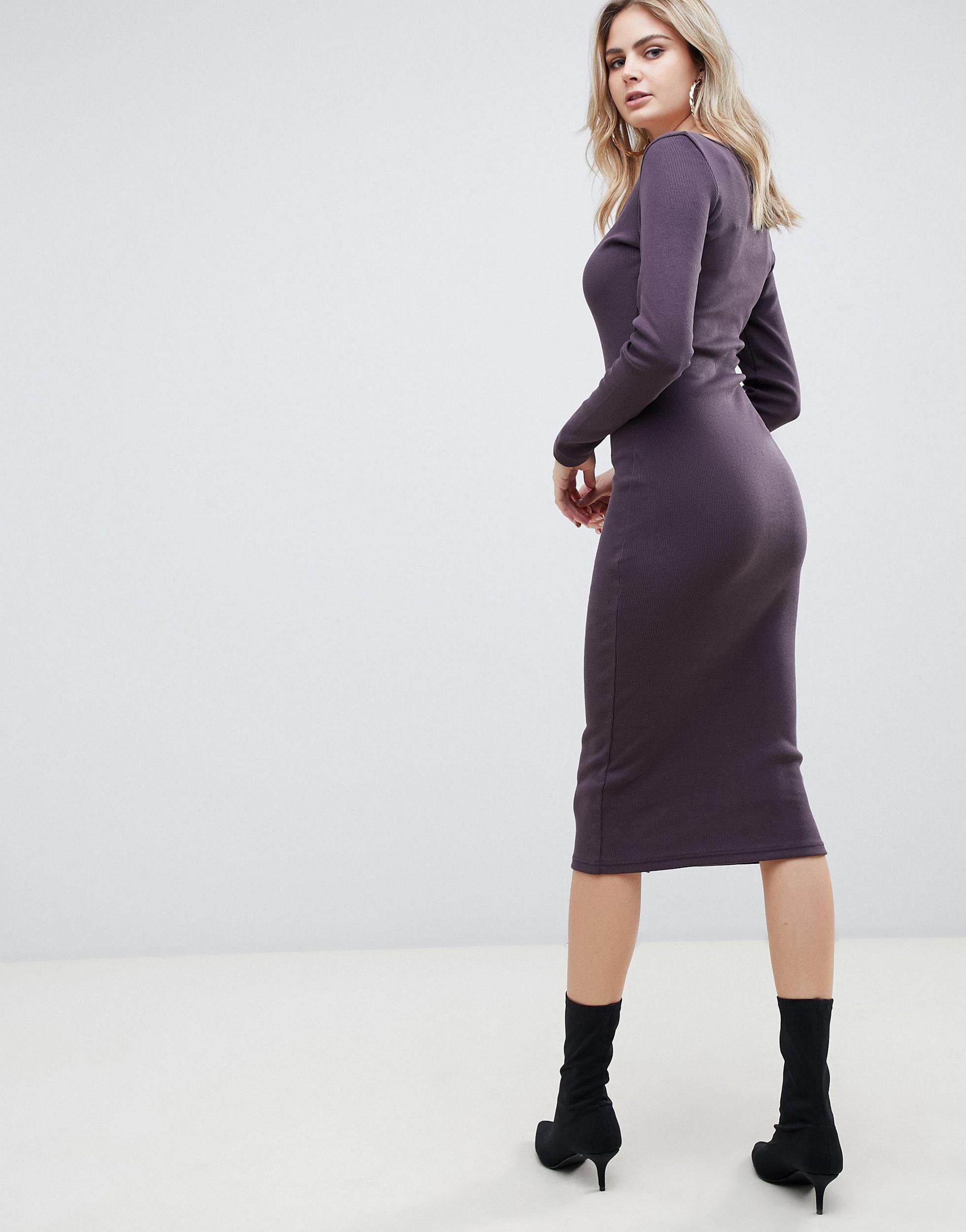 Vestido midi Missguided de Tejido sintético de color Marrón