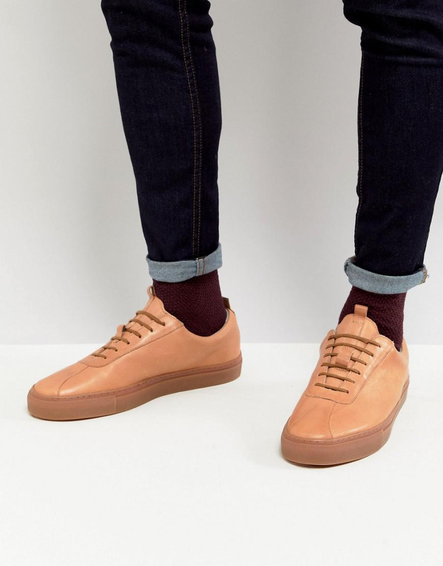 Grenson Leather Trainers With Gum Sole