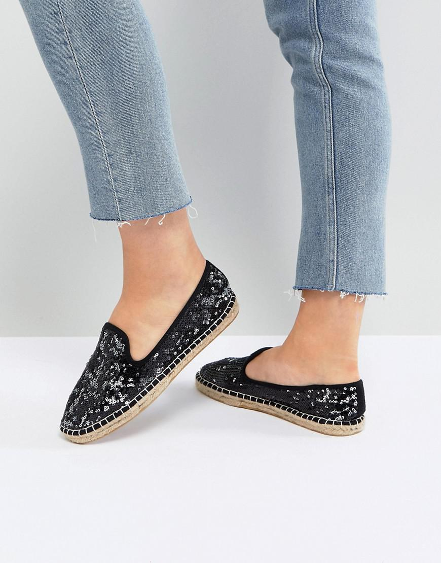 JANIE Wide Fit Sequin Espadrilles - Black/ silver sequin Asos Clearance Authentic Get To Buy Sale Online Buy Cheap 100% Original Free Shipping Discount ymn6x38
