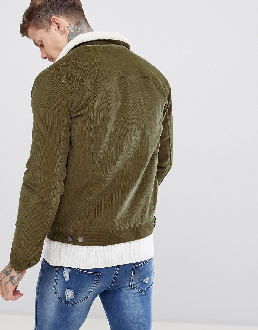 fec799de2b3c BoohooMAN Corduroy Jacket With Borg Lining In Khaki in Green for Men - Lyst