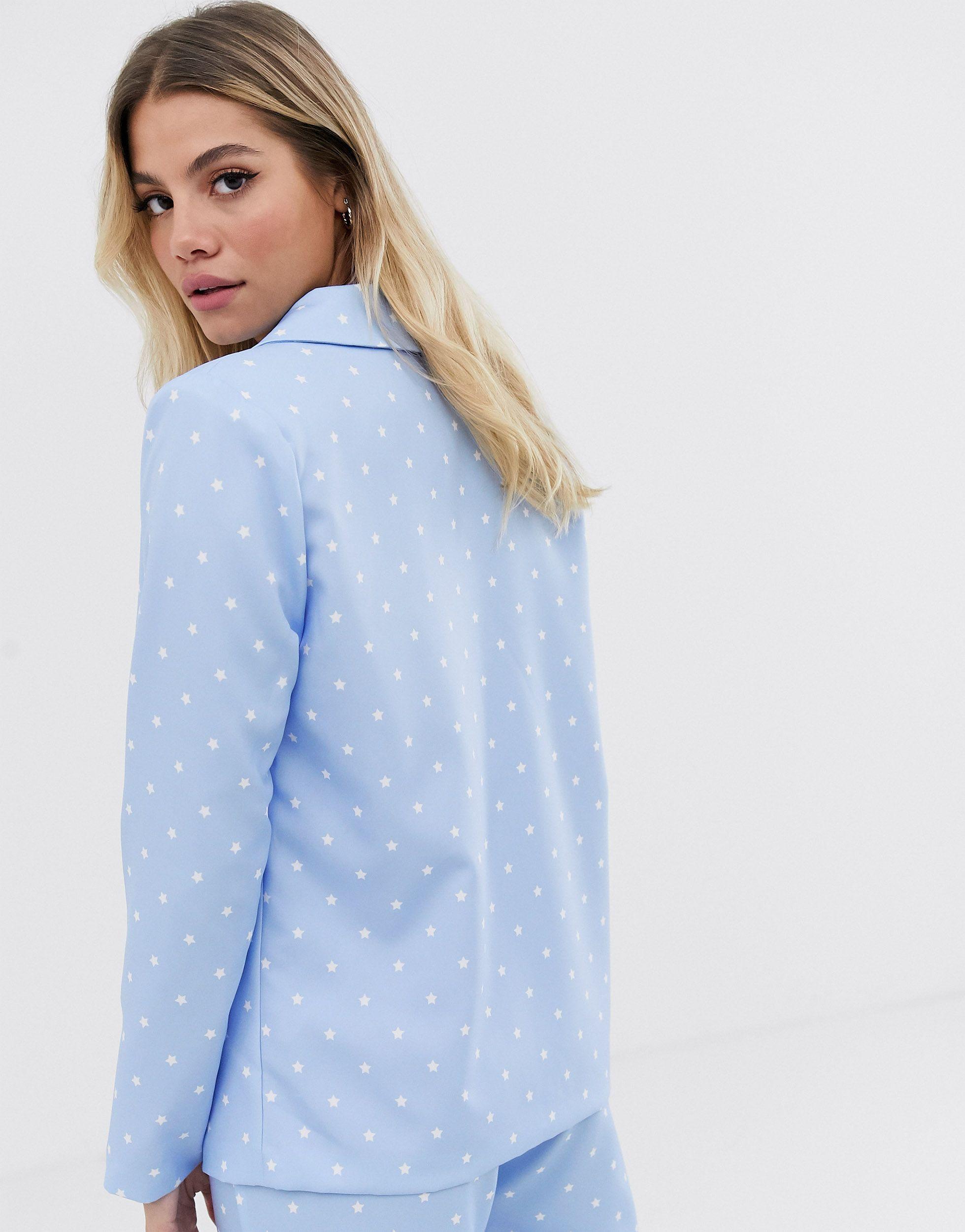 Blazer croisé d'ensemble à imprimé étoiles Synthétique Daisy Street en coloris Bleu