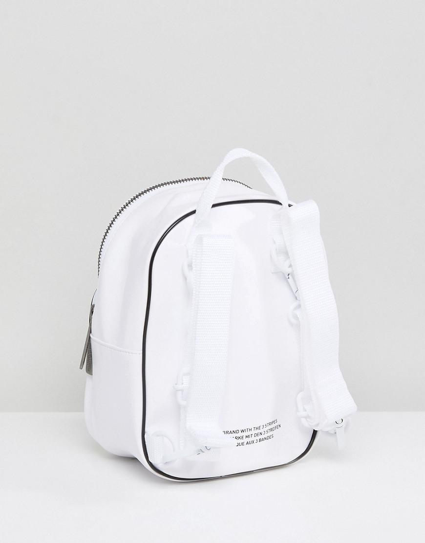 b4138a6cf61e Adidas Originals Mini Backpack In White Faux Leather in White - Lyst