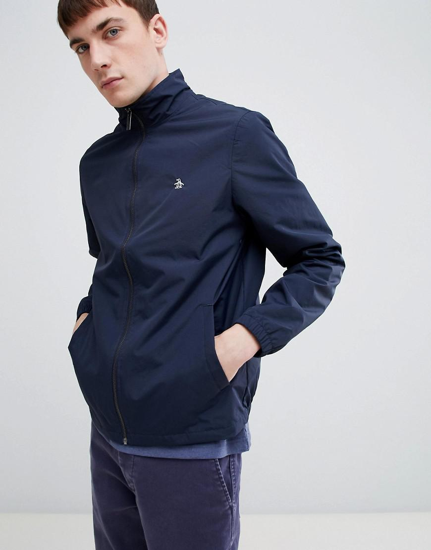 5345b1403c9 Original Penguin Blue Lightweight Nylon Harrington Jacket With Small Logo  In Navy for men