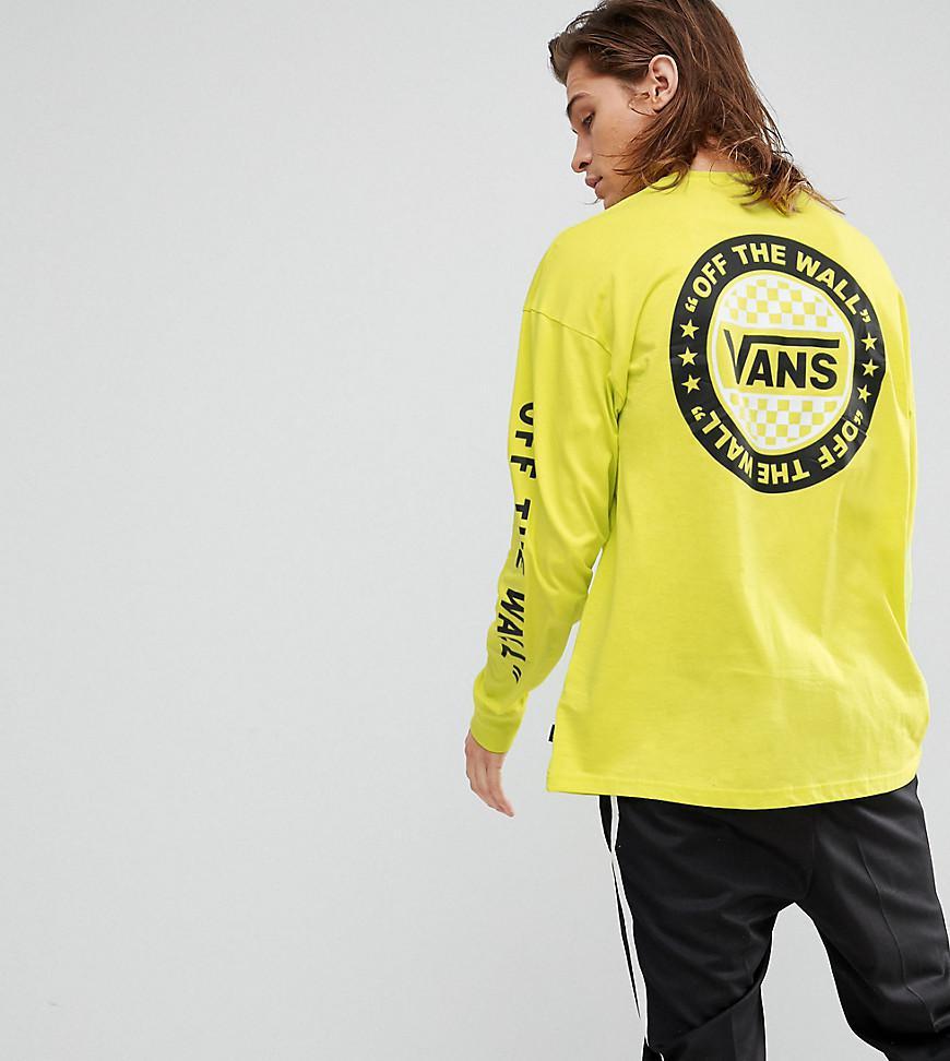 Lyst vans oversized long sleeve t shirt in yellow for Yellow long sleeved t shirt