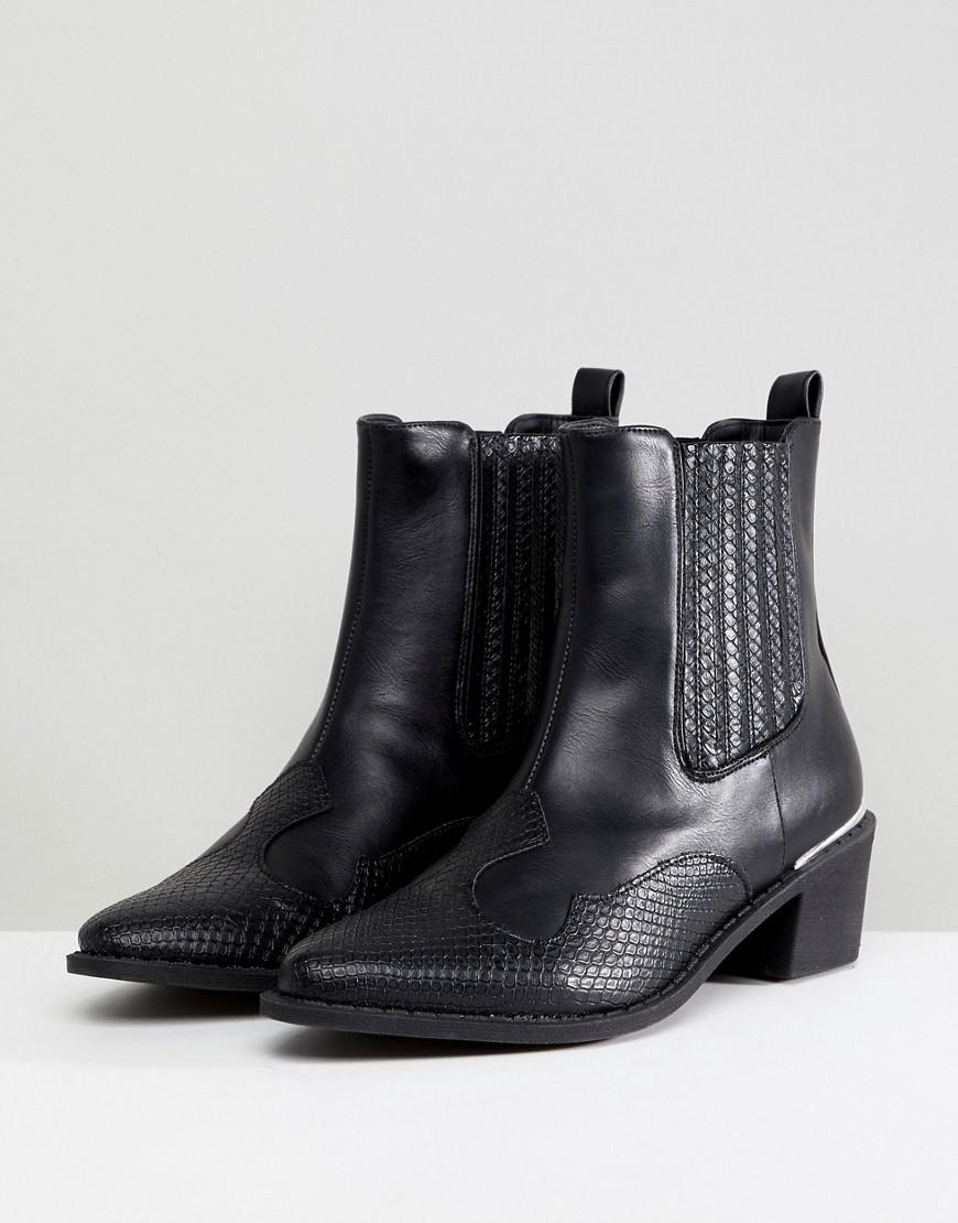 Missguided Denim Western Ankle Boot in Black