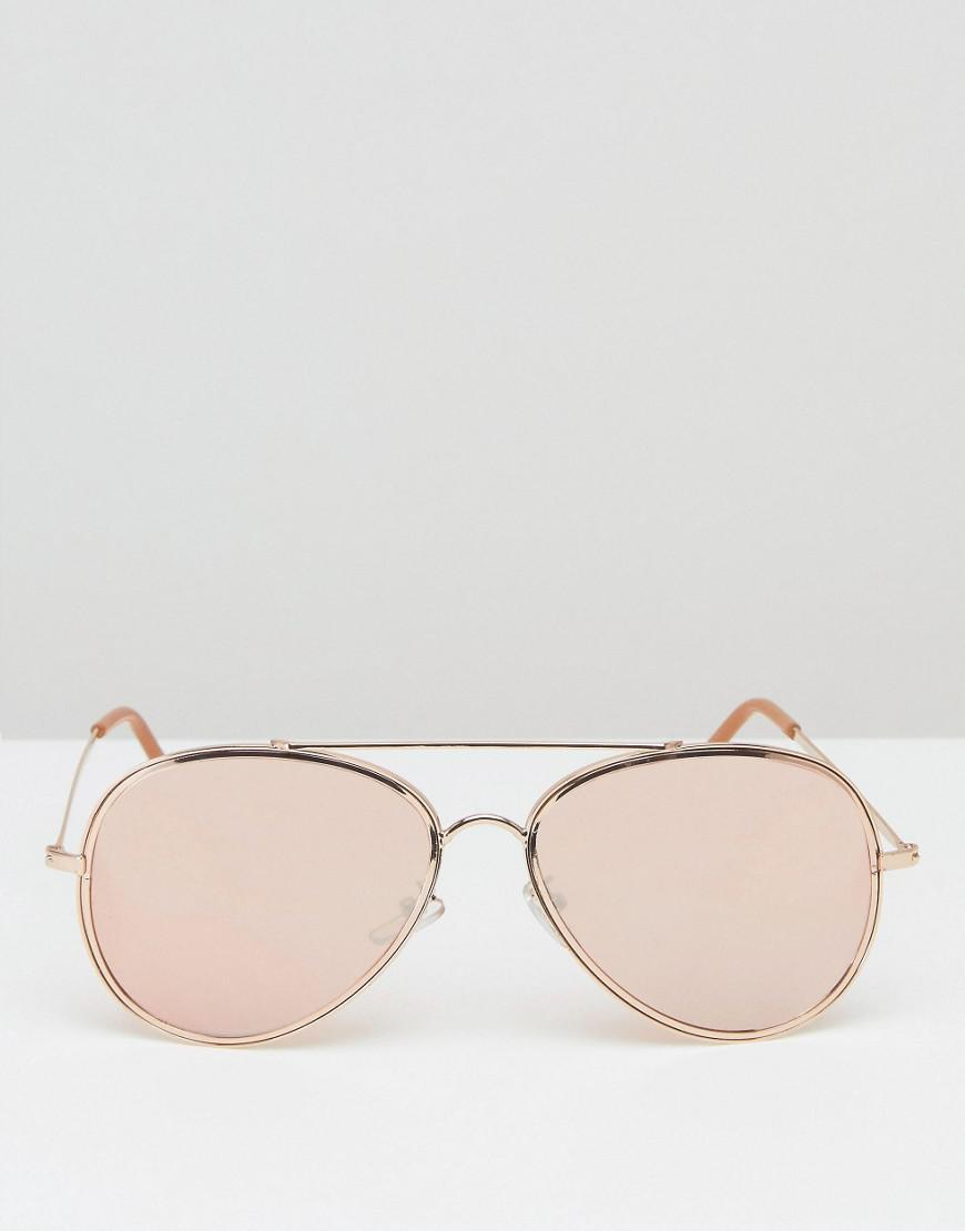ASOS Denim 2 Pack Geeky Aviator And Rose Gold Aviator Sunglasses in Metallic