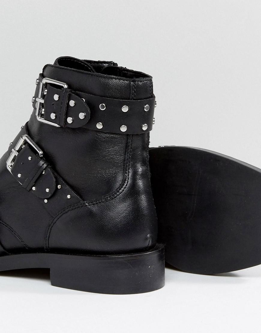 Stradivarius Multi Buckle Ankle Boots in Black