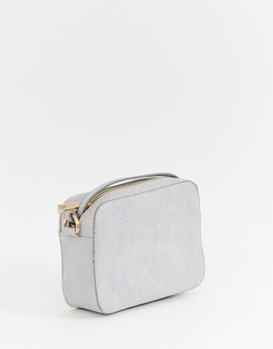 d28688eeaebe Lyst - ASOS Snake Effect Cross Body Bag in Gray - Save 21%