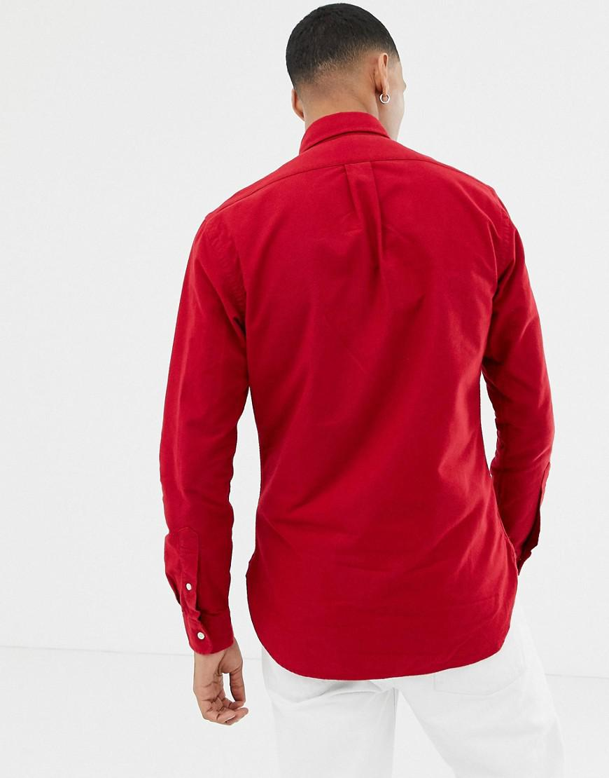 e0d924903 Polo Ralph Lauren Slim Fit Brushed Oxford Shirt With Button Down Collar In  Red in Red for Men - Lyst