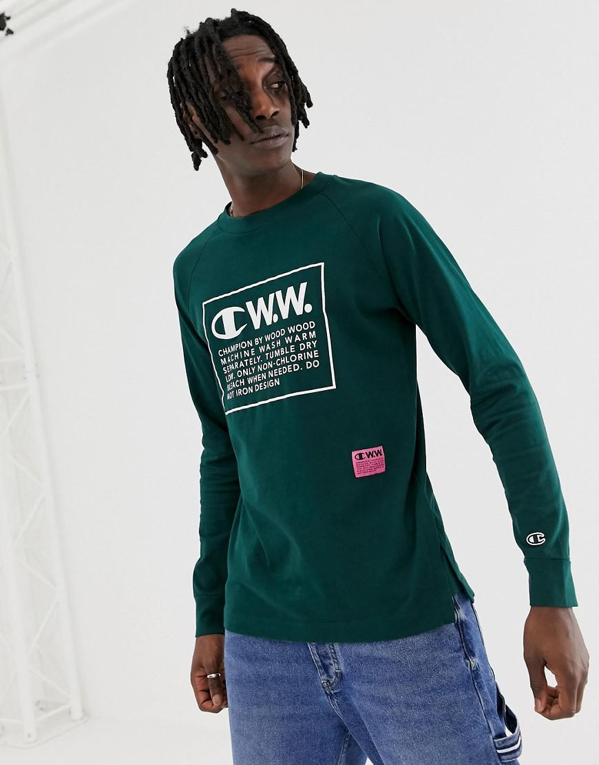 84257255 Lyst - Champion Logo Long Sleeve T-shirt in Green for Men - Save 47%