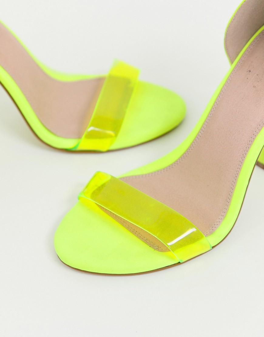 f20eb671418 ASOS Wide Fit Witness Clear Barely There Block Heeled Sandals In Neon  Yellow in Yellow - Lyst