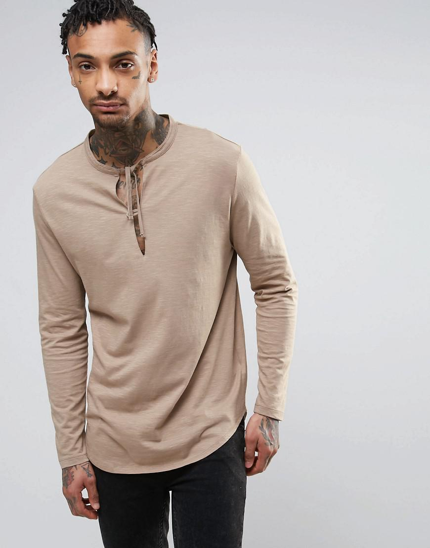 Asos longline long sleeve t shirt with tie grandad collar for Long sleeve t shirts with collar