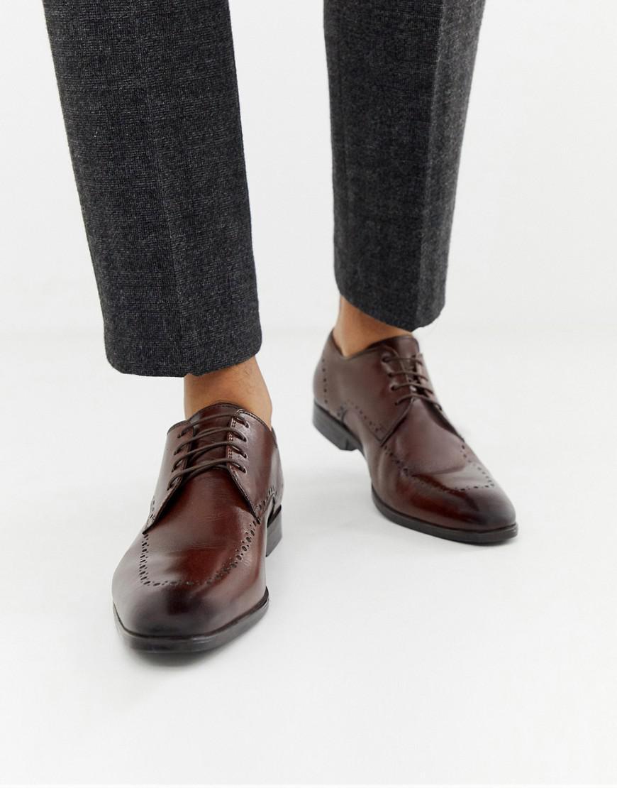 Zapatos oxford de corte ancho de cuero marrón con detalles perforados ASOS de Cuero de color Marrón para hombre