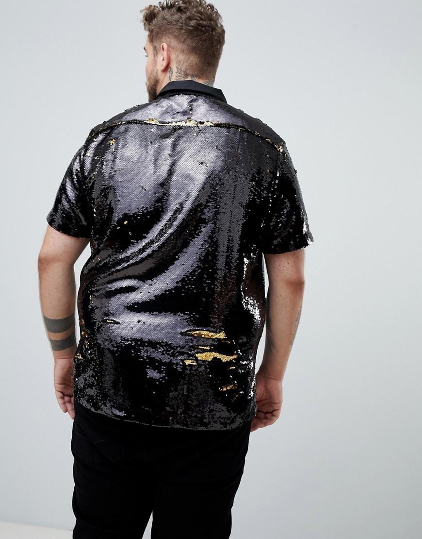 ASOS Regular-fit Overhemd Met Omkeerbare Gouden Lovertjes in het Zwart voor heren