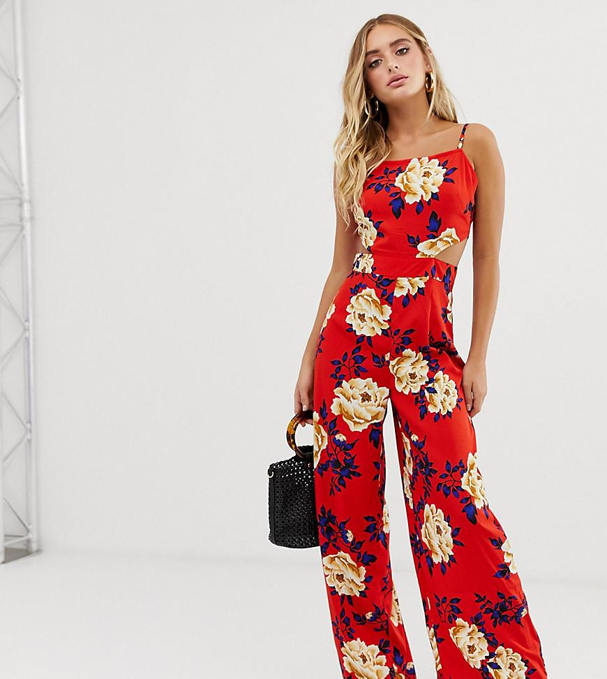 5ef069d030 Lyst - Boohoo Strappy Floral Cut Out Jumpsuit in Red