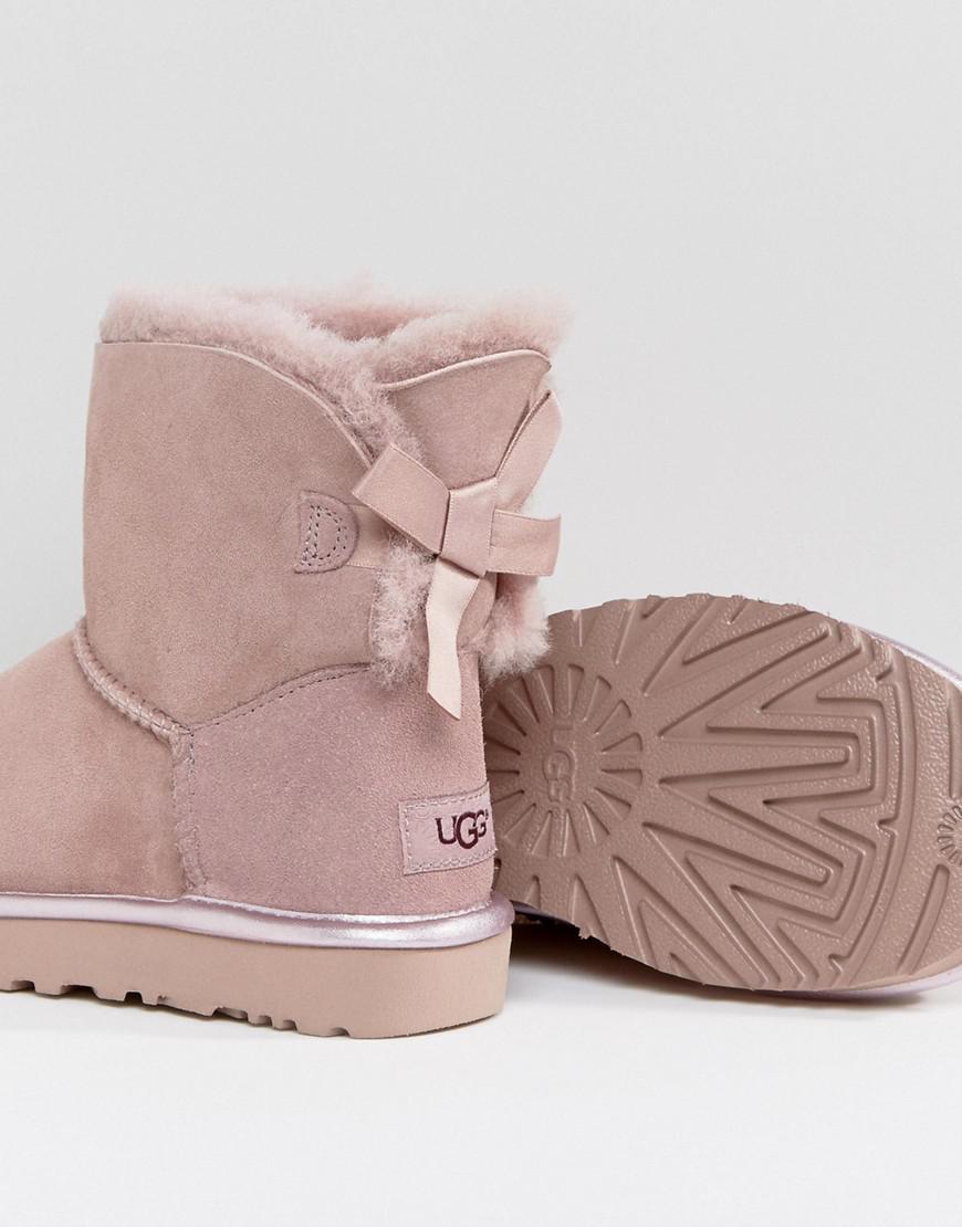 b28c3731c54 UGG Mini Bailey Bow Ii Dusk Metallic Boots in Pink - Lyst