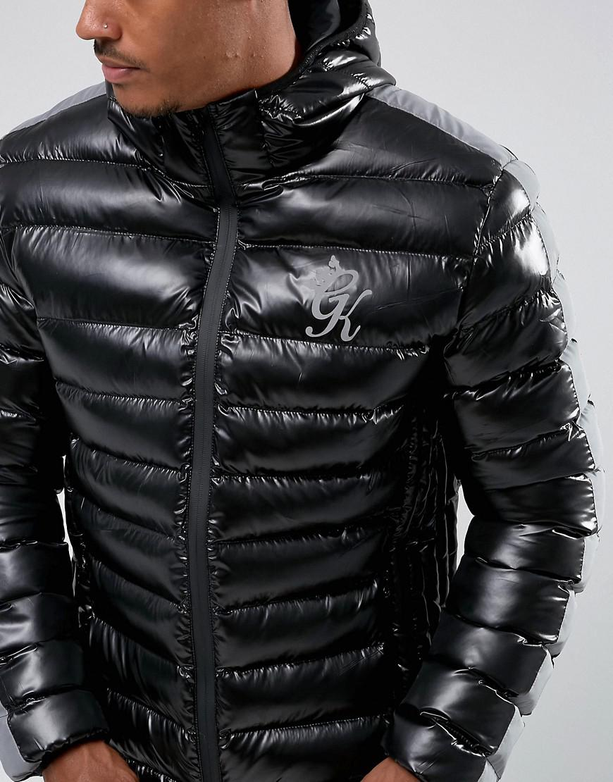 9fb453592 Gym King Puffer Jacket In Black With Reflective Stripe for Men - Lyst