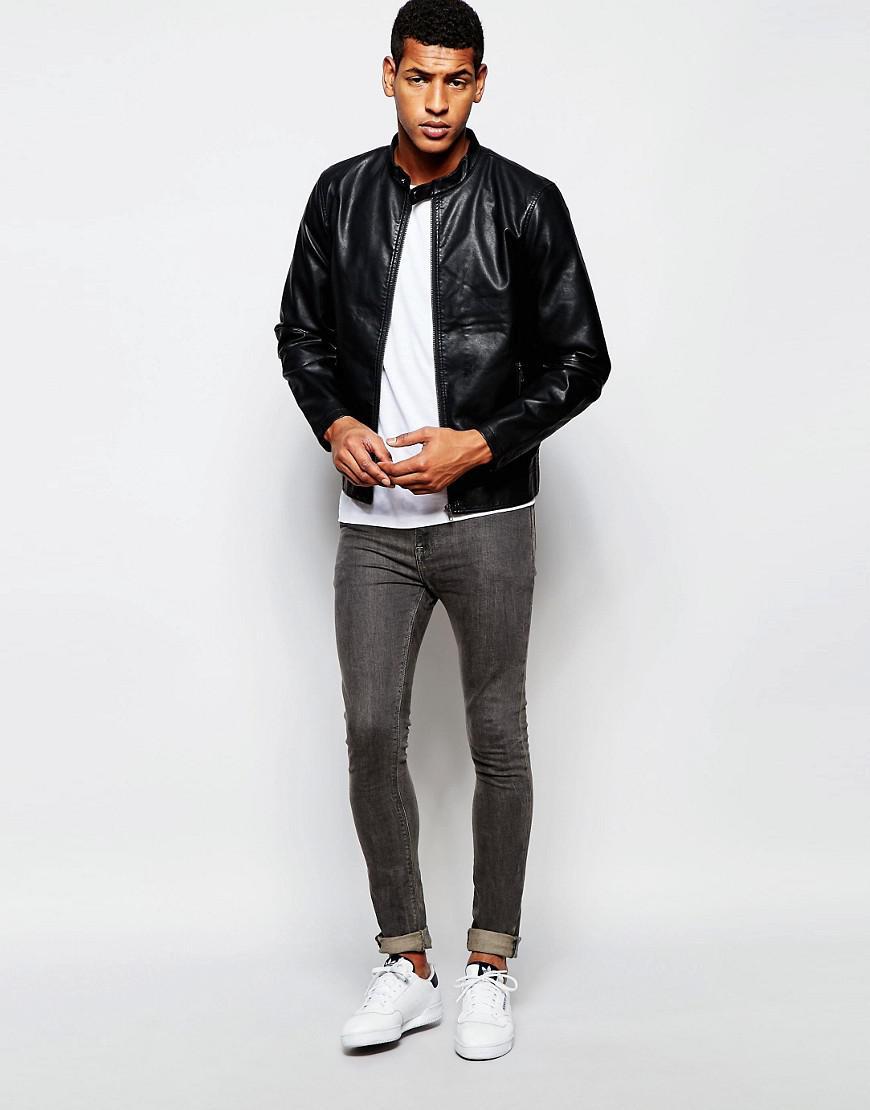 Produkt Faux Leather Biker Jacket - Black for Men