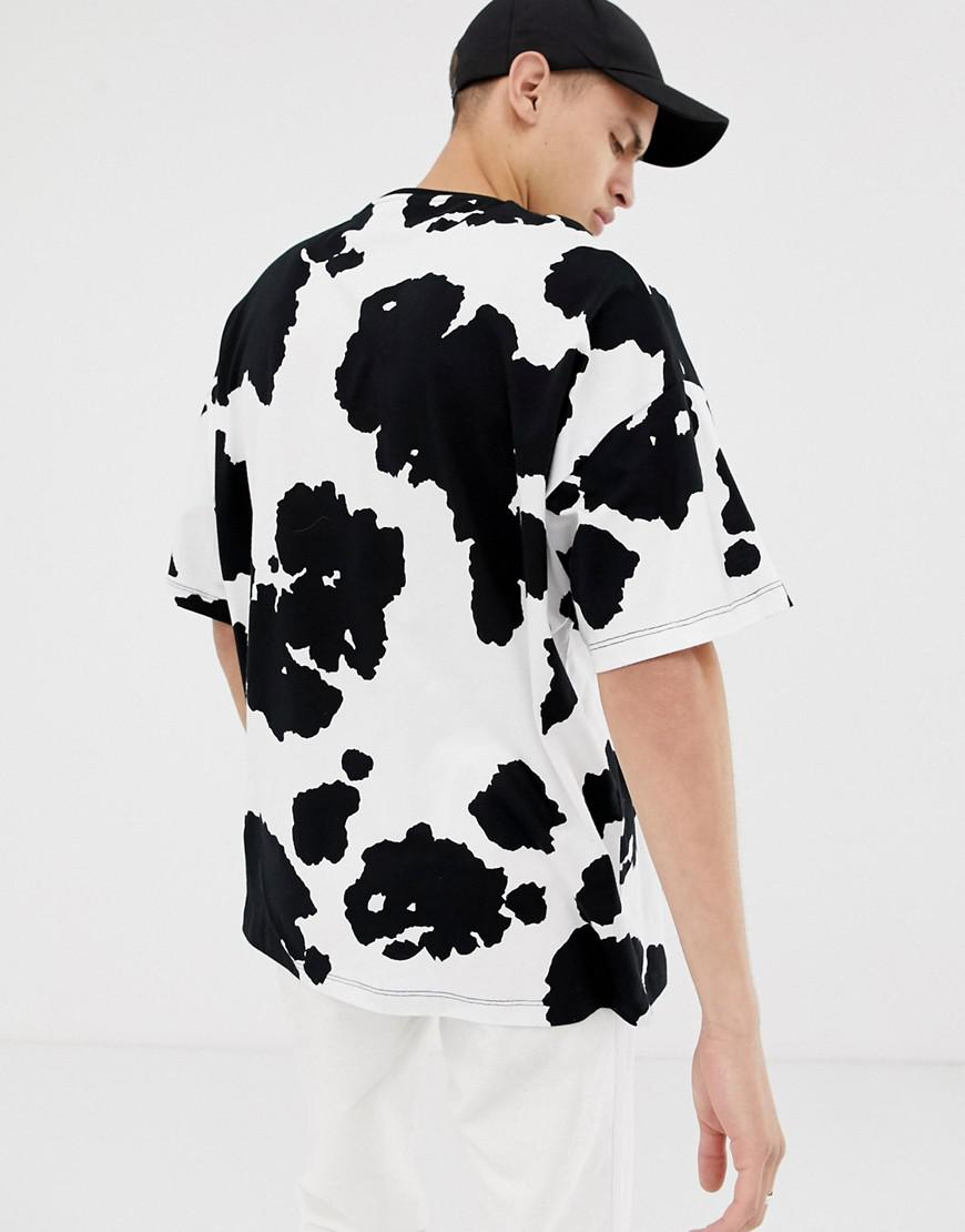 Lyst Asos Oversized T Shirt With All Over Cow Print In White For Men