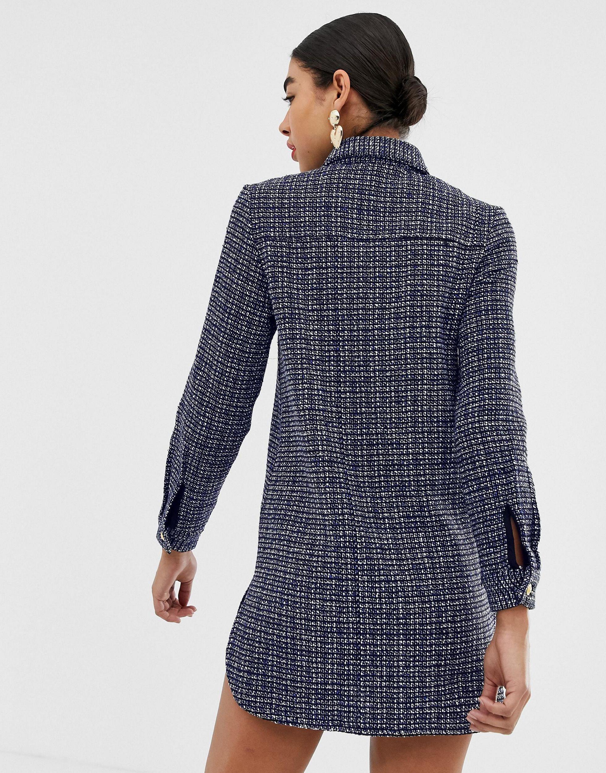 Robe chemise oversize en avec boutons dorés Synthétique UNIQUE21 en coloris Bleu