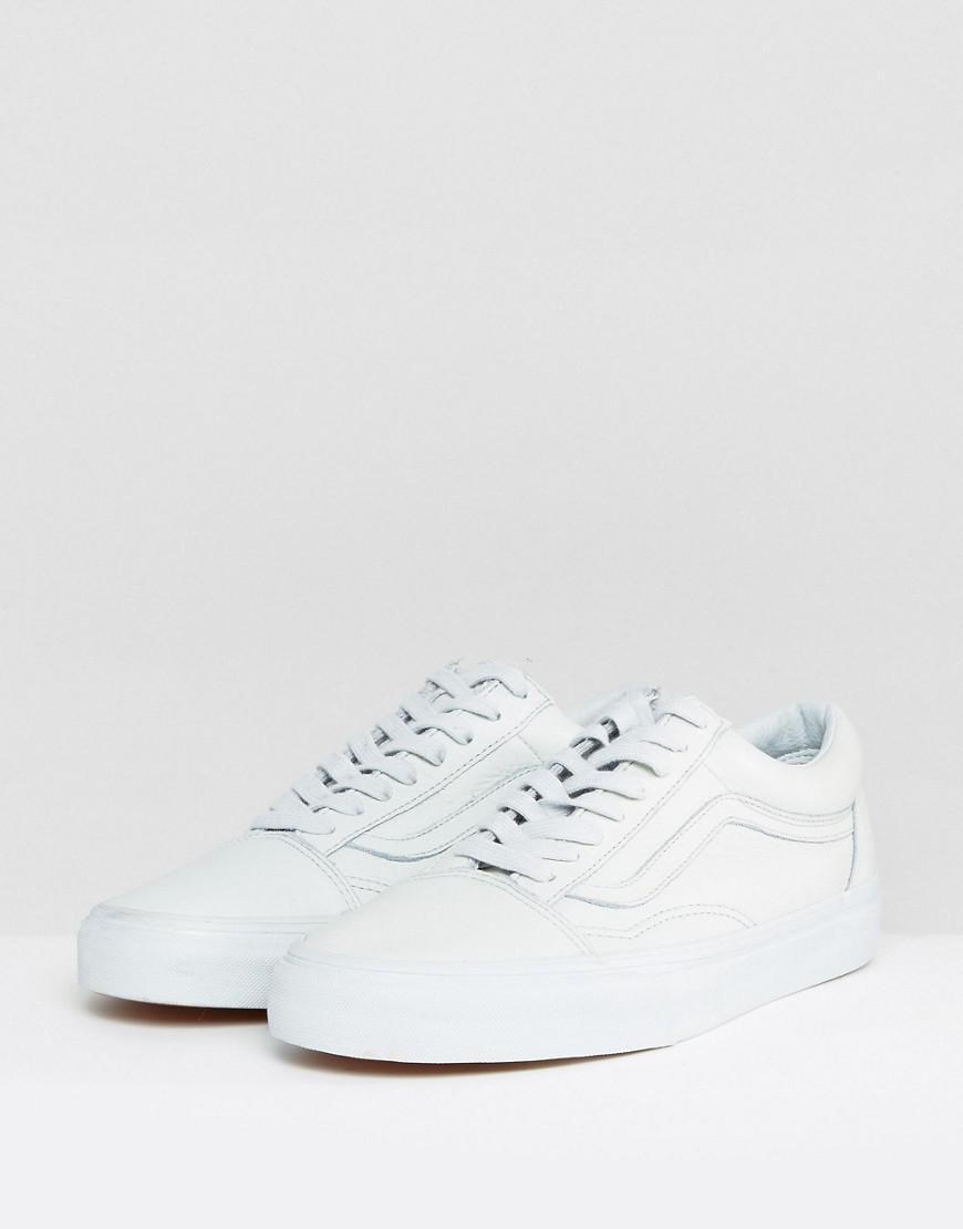 Vans Old Skool Leather Mono Sneakers In Green Va38g1ont