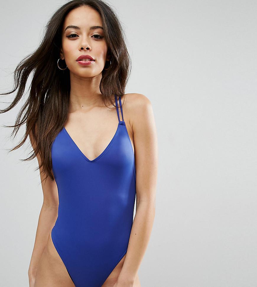 cd01ecd28e1 ASOS Cross Back High Leg Swimsuit in Blue - Lyst