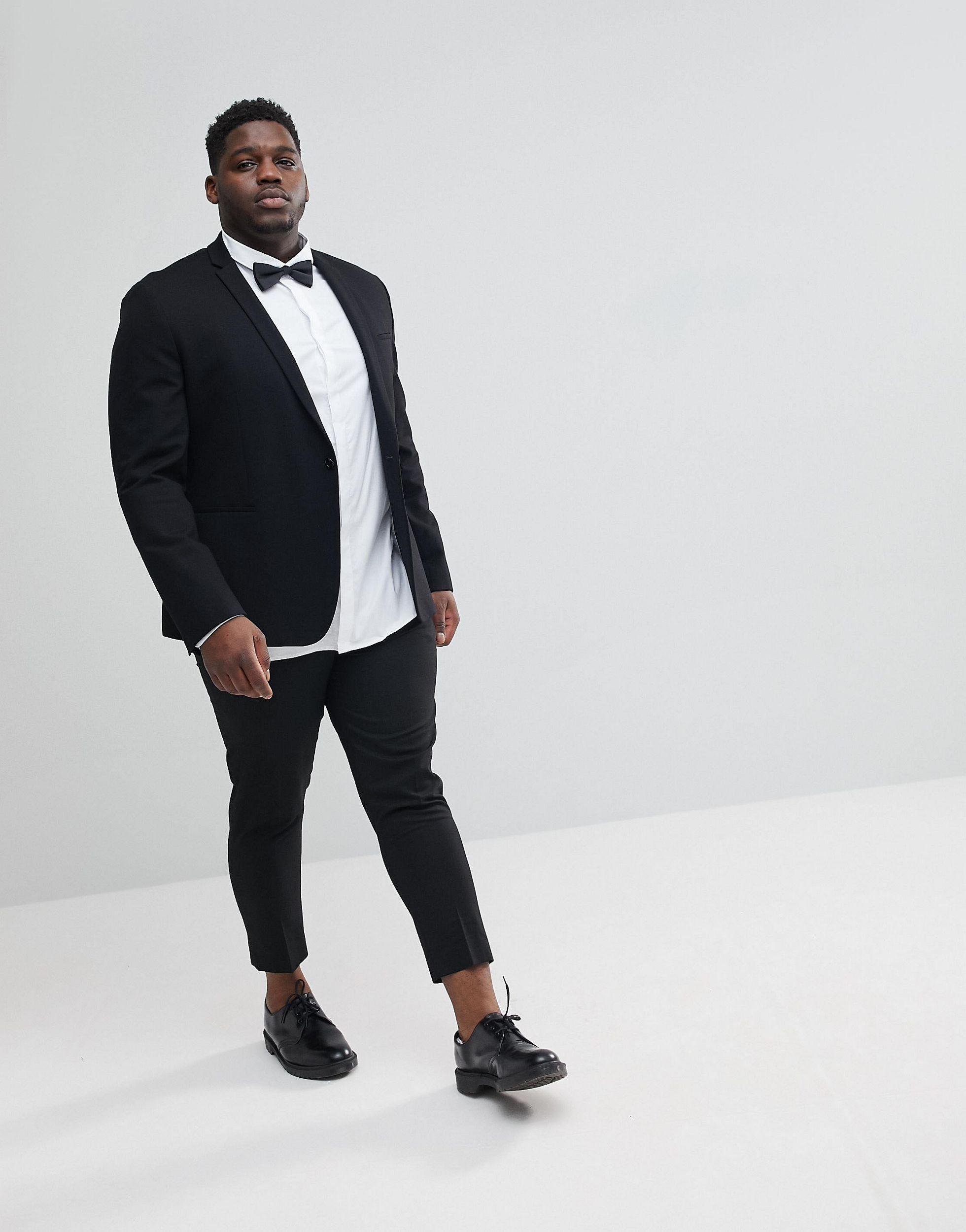 Noak Plus Size - Skinny Jersey Blazer in het Zwart voor heren