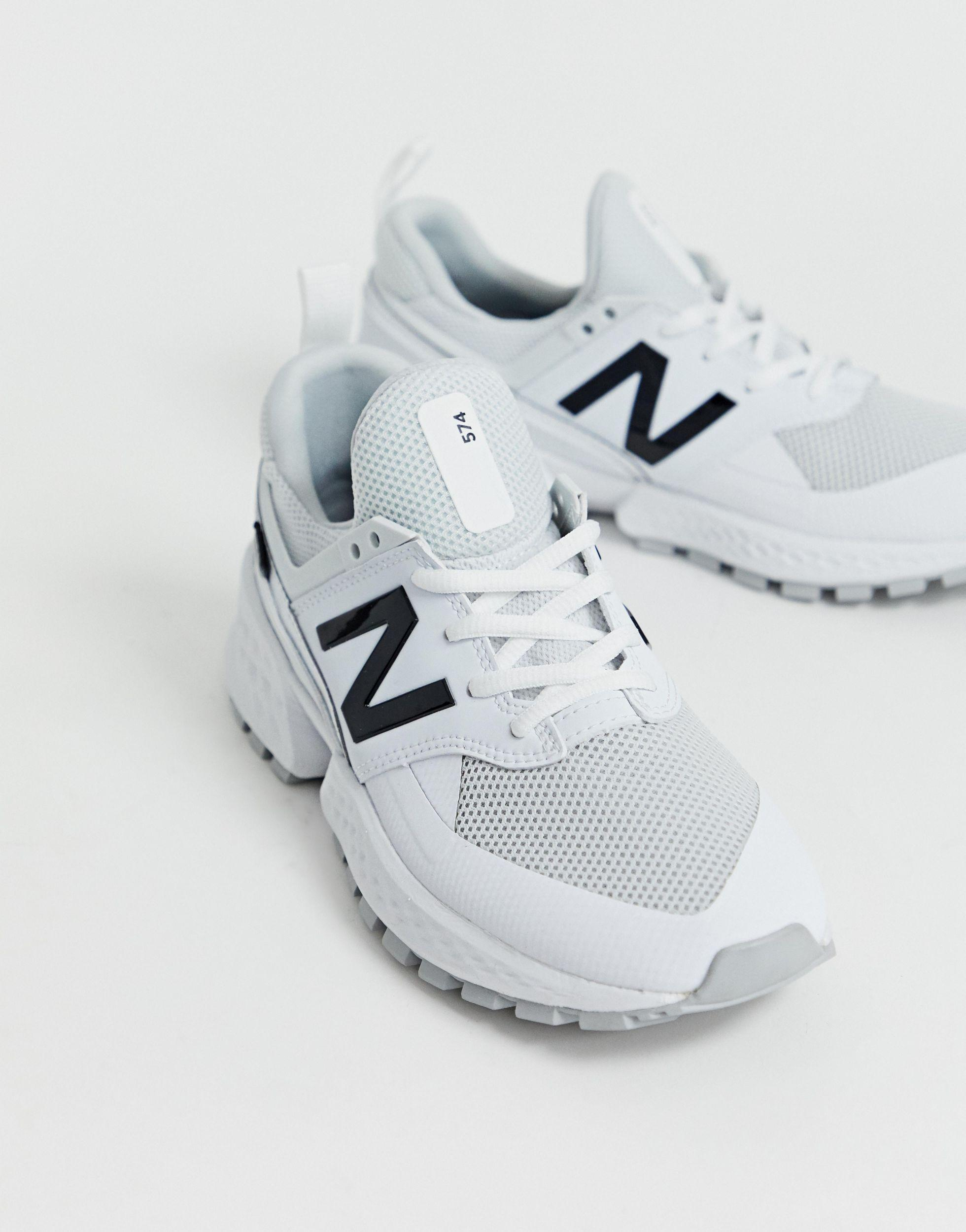 New Balance Leather 574 Sport V2 Triple Sneakers in White - Lyst