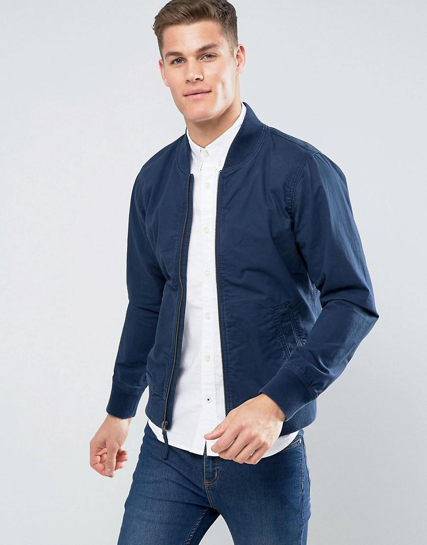 Lyst - Hollister Bomber Jacket Stretch In Navy In Blue For Men