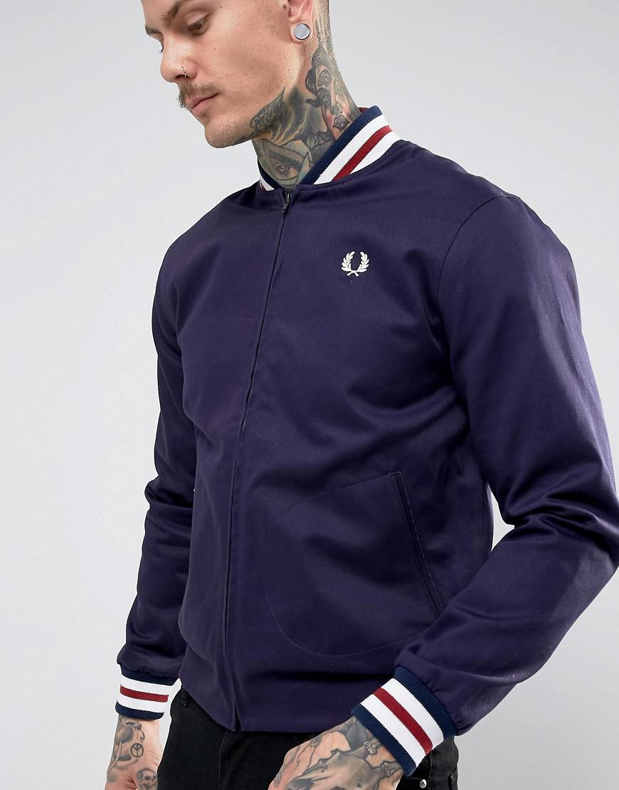 b9cdc52da Fred Perry Blue Reissues Tipped Varsity Bomber Jacket In Navy for men