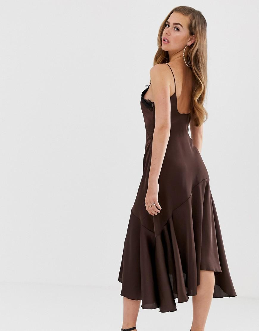 40baee7b051 Boohoo Lace Trim Satin Slip Dress In Chocolate in Brown - Lyst