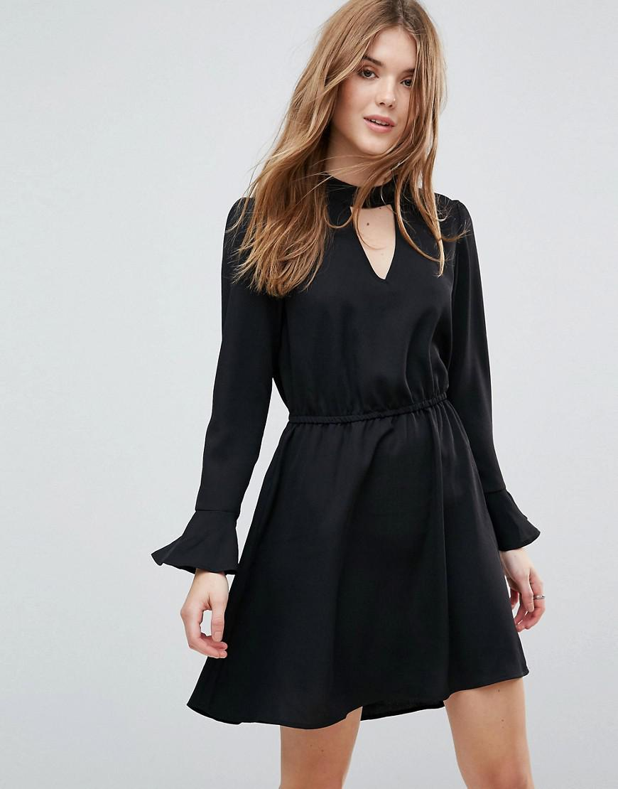 Johnanna Fluted Sleeve Dress - Black Only rGRNwm