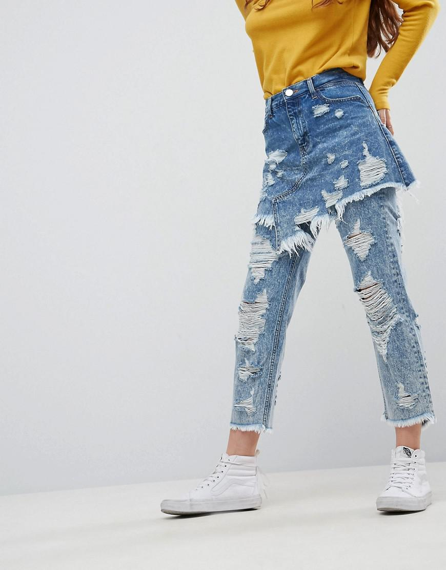 FLORENCE AUTHENTIC STRIAGHT Leg Jeans With Rips and Skirt Overlay - Mid wash blue Asos Il0O1