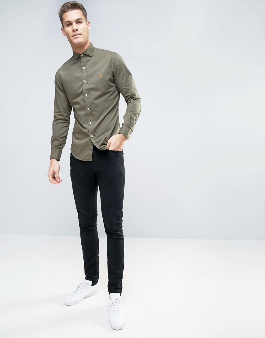 f7b77a3eb5cb Polo Ralph Lauren Shirt Slim Fit Cutaway Collar Twill in Green for ...