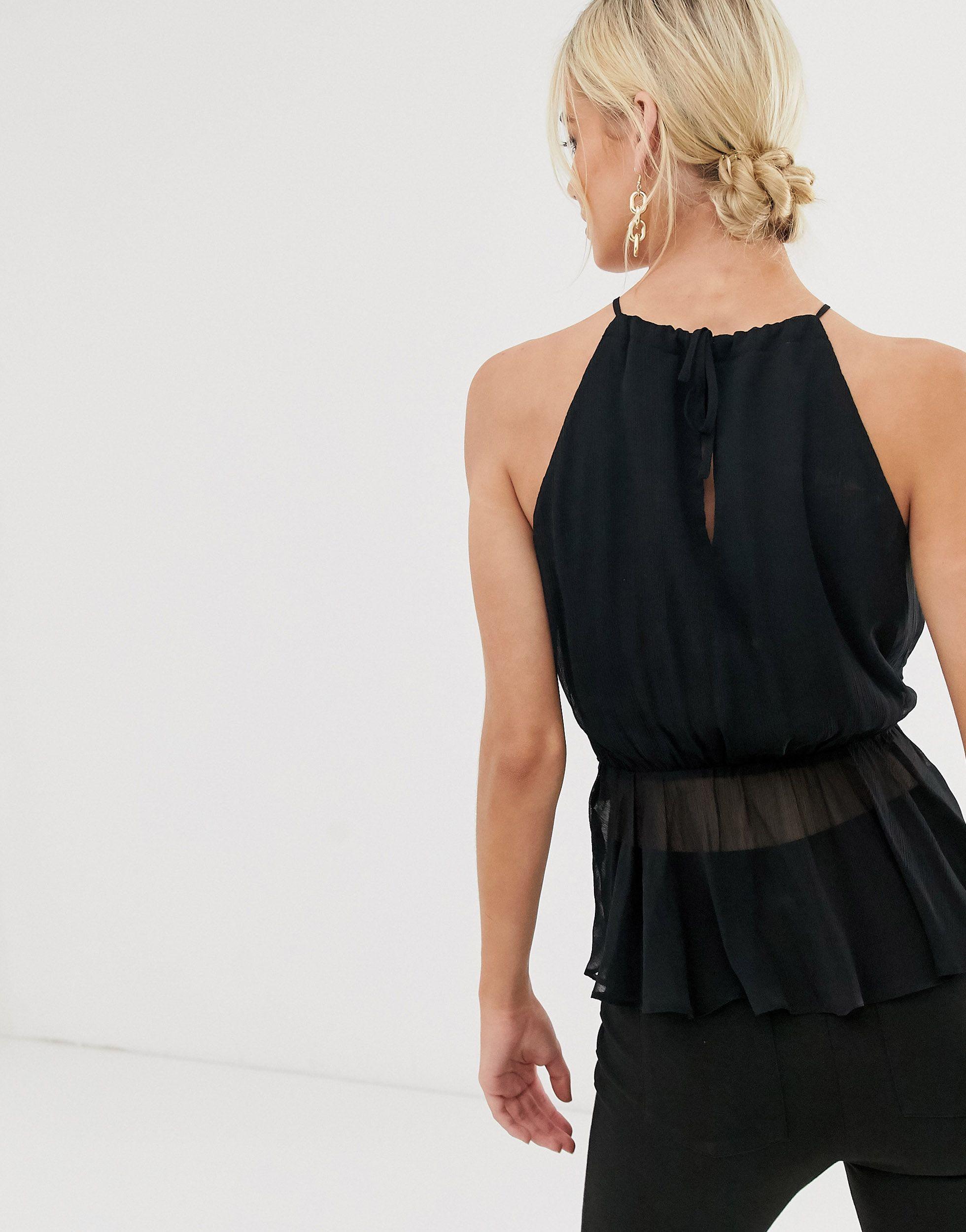 ASOS DESGIN - Top dos nu sans manches avec ceinture Synthétique ASOS en coloris Noir