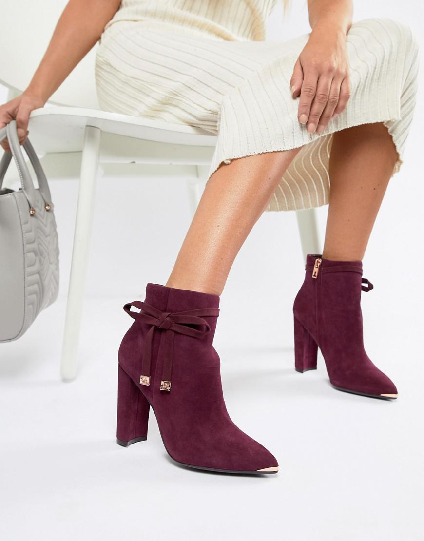 most fashionable choose genuine ever popular Burgundy Suede Heeled Ankle Boots With Bow