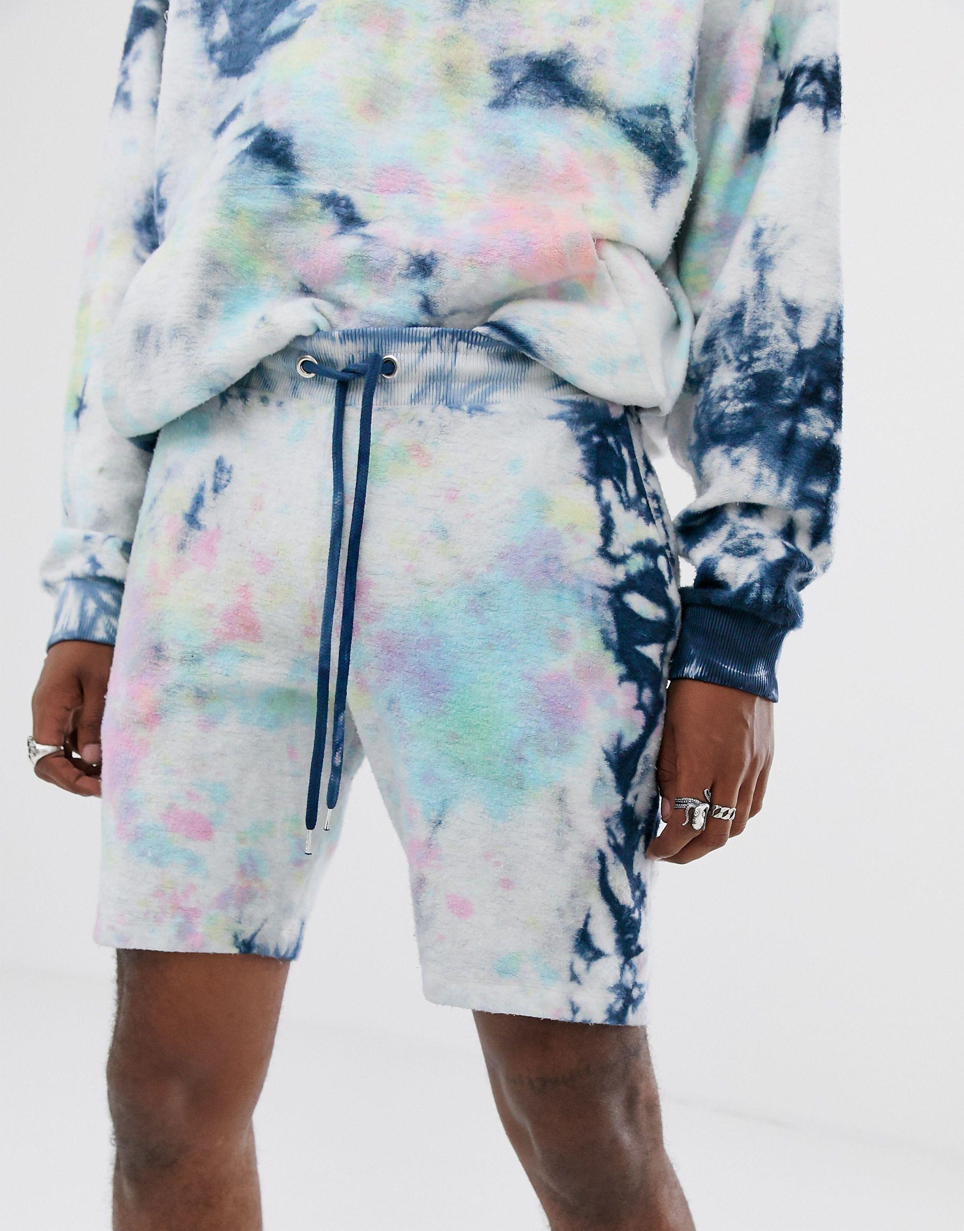 ASOS Katoen Combi-set Skinny Jersey Shorts Met Tie-dye Van in het Blauw voor heren
