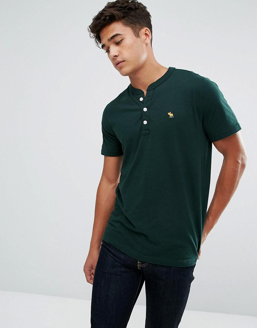 lyst abercrombie fitch slim fit essential henley t shirt with pop icon in green in green for men. Black Bedroom Furniture Sets. Home Design Ideas