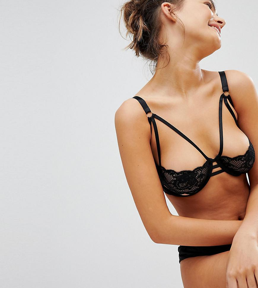 3cfce8d927 Lyst - Wolf   Whistle Black Lace Cut Out B-g Cup Bra in Black